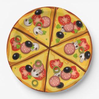 Lebhafter Pizzatortenhintergrund Pappteller 22,9 Cm