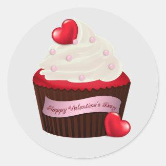 Lebhafter Valentinstag-kleiner Kuchen Runder Aufkleber