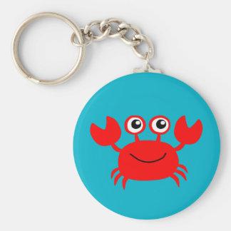 Lebhaftes lächelndes Krabbe keychain Standard Runder Schlüsselanhänger
