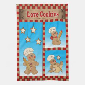 Lebkuchen-Mann-Bäcker-Liebe-Plätzchen Küchenhandtücher