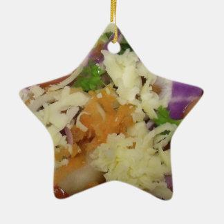 Leckerer Käse-Salat Keramik Stern-Ornament