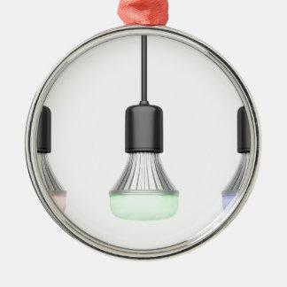LED-Birnen mit verschiedenen Farben Rundes Silberfarbenes Ornament