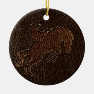 Leder-Blick Rodeo-Dunkelheit Rundes Keramik Ornament