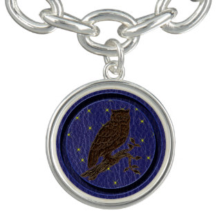 Leder-Blick Ureinwohner-Tierkreis-Eule Charm Armbänder