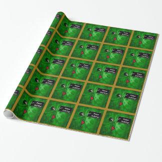 Lehrer frohe Feiertage am Kreide-Brett auf Grün Geschenkpapier