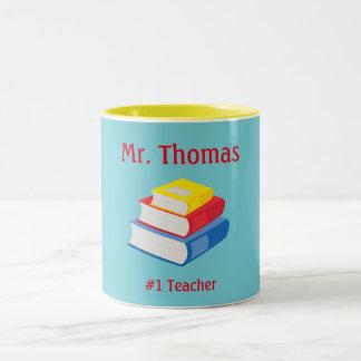 Lehrer personifizieren Blau und Gelb Zweifarbige Tasse