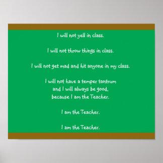 """Lehrer-Spaß """"ich bin der Lehrer-"""" Tafel-Posten Poster"""