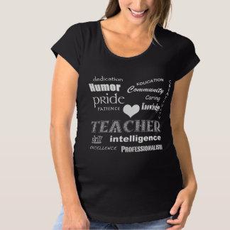 Lehrer-Stolz-Weißes Herz Schwangerschafts T-Shirt