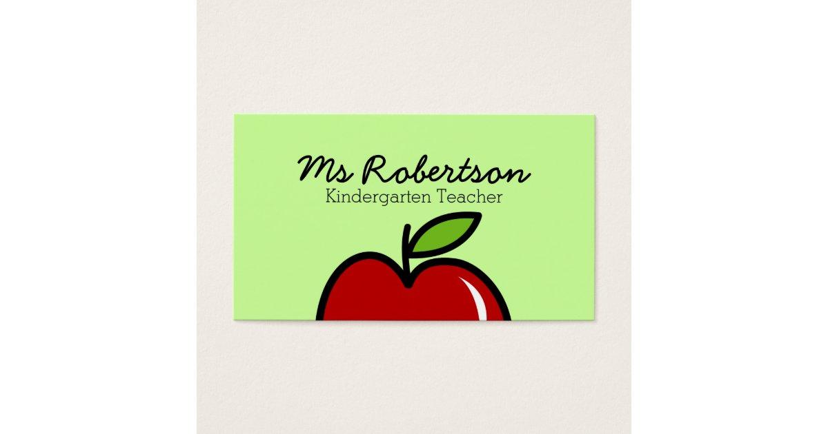 Lehrer-Visitenkarteschablone mit rotem Apfel Visitenkarte | Zazzle.at