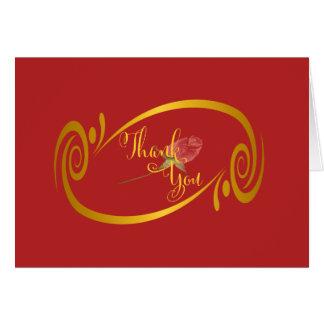 Leidenschaftliche rote Goldrahmen-Rosen-Hochzeit Karte