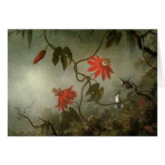 Leidenschafts-Blumen und Kolibris Karte