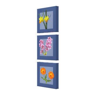 Leinwand-Druck - botanisches Triptychon auf Blau Galerie Faltleinwand