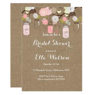 Leinwand-rosa Maurer-Glas-Brautparty-Einladung 12,7 X 17,8 Cm Einladungskarte