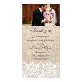 Leinwand u. Spitze-Hochzeit danken Ihnen Foto-Kart Bilderkarte