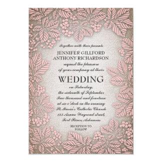 Leinwand-und Kastanien-Vintage rustikale Hochzeit 12,7 X 17,8 Cm Einladungskarte