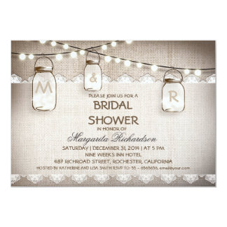 Leinwand- und Maurerglas-Brautpartyeinladungen 12,7 X 17,8 Cm Einladungskarte