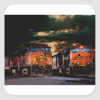Leistungsfähige Lokomotiven bereit zu schleppen Quadratischer Aufkleber