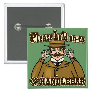 Lenkstangen-Schnurrbart-Herr Quadratischer Button 5,1 Cm