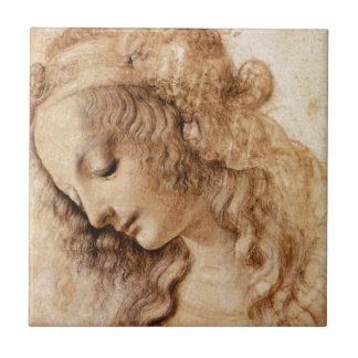 LEONARDO-Frauen-Kopf Kleine Quadratische Fliese