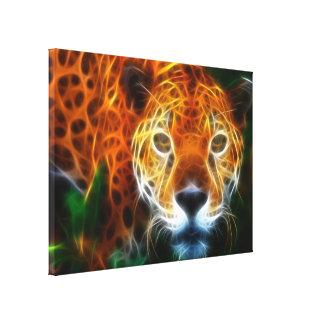 Leopard, der an seinem Opfer (Sie, aufpasst!) Leinwanddruck