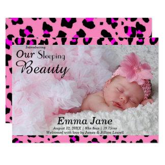 Leopard-Druck-Foto - Mitteilung der Geburts-3x5 8,9 X 12,7 Cm Einladungskarte