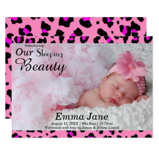 Leopard-Druck-Foto - Mitteilung der Geburts-3x5 Karte