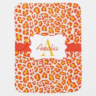 Leopard-Druck-orange Gelb-Weiß Swaddle Decke Babydecken