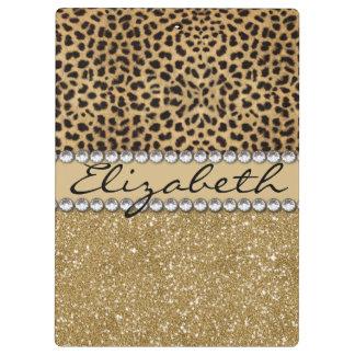 Leopard-Kassagold-Glitzer-diamante de imitación Klemmbrett