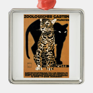 Leopard-München-Zoo-Plakat 1912 Ludwigs Hohlwein Quadratisches Silberfarbenes Ornament
