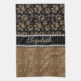 Leopard-Stellen-Tatze druckt Rhinestone FOTO-DRUCK Handtuch