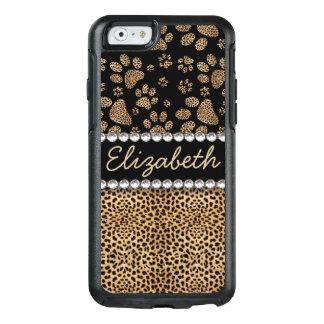 Leopard-Stellen-Tatze druckt Rhinestone FOTO-DRUCK OtterBox iPhone 6/6s Hülle