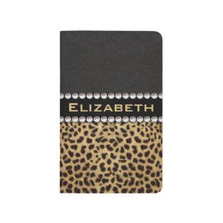 Leopard-Stellerhinestone-Diamant-Monogramm FOTO Tagebuch