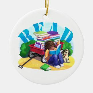 LESEN Sie Buch-Lastwagen-Kunst Keramik Ornament