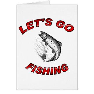 Lets gehen zu fischen grußkarte