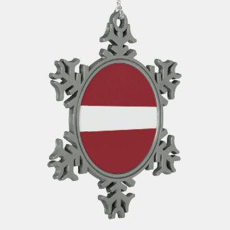 Lettland-Flagge Schneeflocken Zinn-Ornament