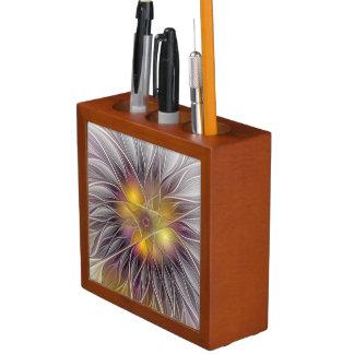 Leuchtende bunte Blume, abstraktes modernes Stifthalter