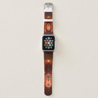 Leuchtendes abstraktes modernes orange Rot Fraktal Apple Watch Armband