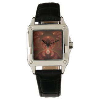 Leuchtendes abstraktes modernes orange Rot Fraktal Armbanduhr