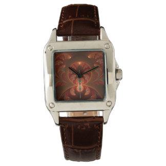Leuchtendes abstraktes modernes orange Rot Fraktal Uhr