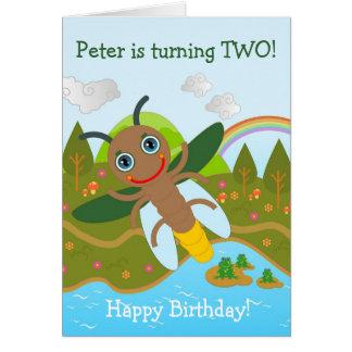 Leuchtkäfer, der alles Gute zum Geburtstag wünscht Grußkarte