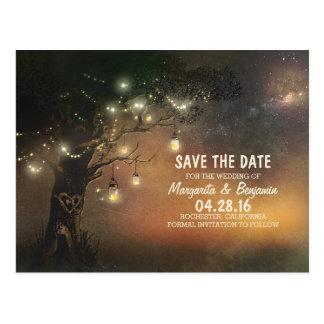 Leuchtkäfermaurerglasbaum rustikal Save the Date Postkarten