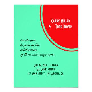 Leuchtorange-grüne moderne Hochzeit 10,8 X 14 Cm Einladungskarte
