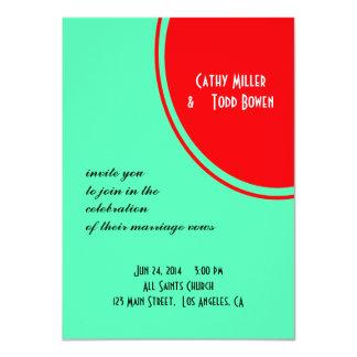 Leuchtorange-grüne moderne Hochzeit 11,4 X 15,9 Cm Einladungskarte