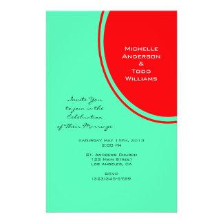 Leuchtorange-grüne moderne Hochzeit 14 X 21,6 Cm Flyer