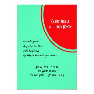 Leuchtorange-grüne moderne Hochzeit 8,9 X 12,7 Cm Einladungskarte