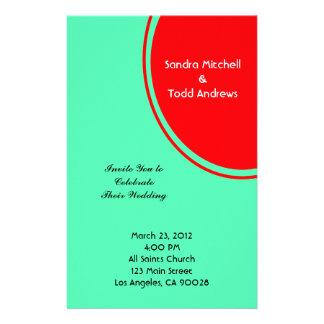 Leuchtorange-grüne moderne Hochzeit Bedrucktes Büropapier