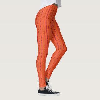 Leuchtorange-künstlerischer Streifen Leggings