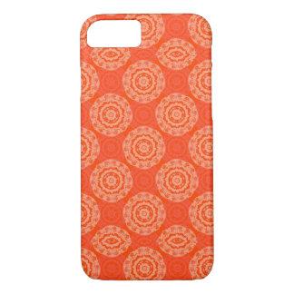 Leuchtorange-Muster mit Blumenkreis-Muster iPhone 7 Hülle