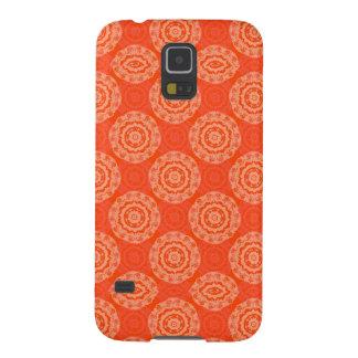 Leuchtorange-Muster mit Blumenkreis-Muster Samsung Galaxy S5 Hüllen