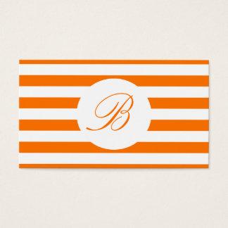 Leuchtorange Striped mit Monogramm Visitenkarte